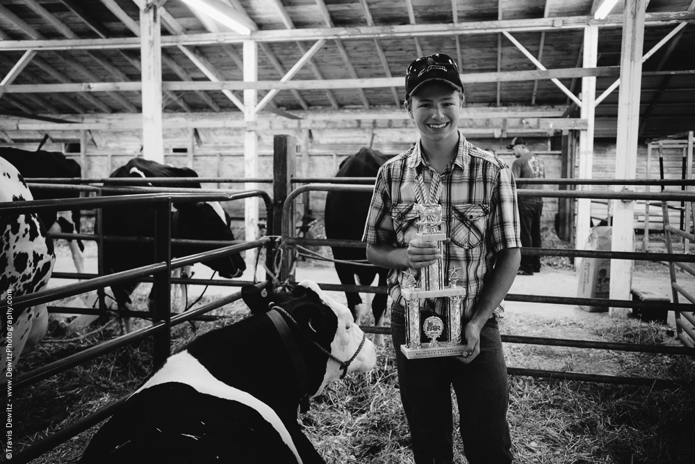 Northern Wisconsin State Fair Boy With Fair Trophy For His Cow