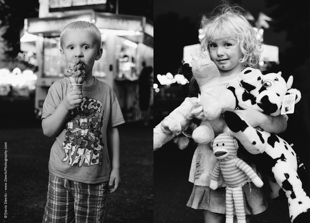 Northern Wisconsin State Fair Boy With Ice Cream Cone Girl With Prizes