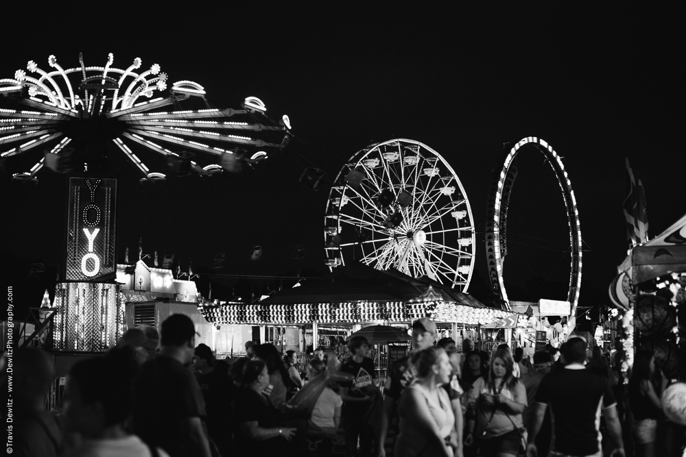 Northern Wisconsin State Fair Rides and Crowd at Night