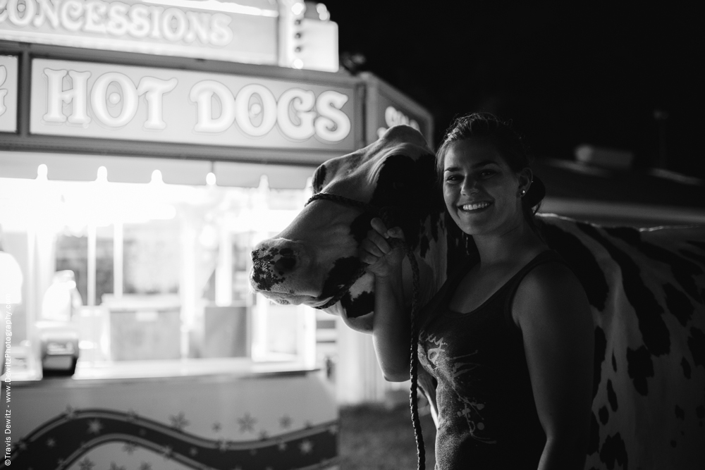 Northern Wisconsin State Fair Teen Walking Cow Past Food Stand