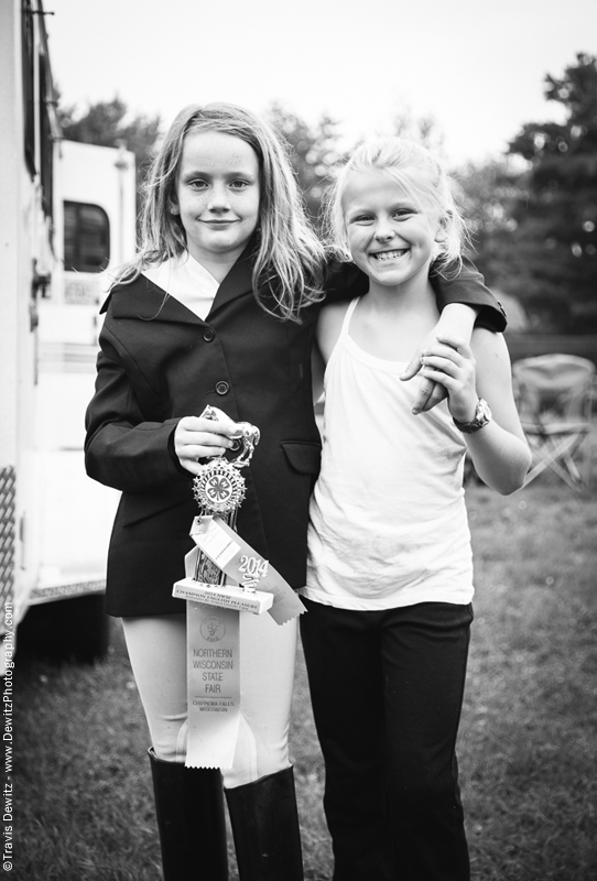 Northern Wisconsin State Fair Two Young Girls With Horse Trophy