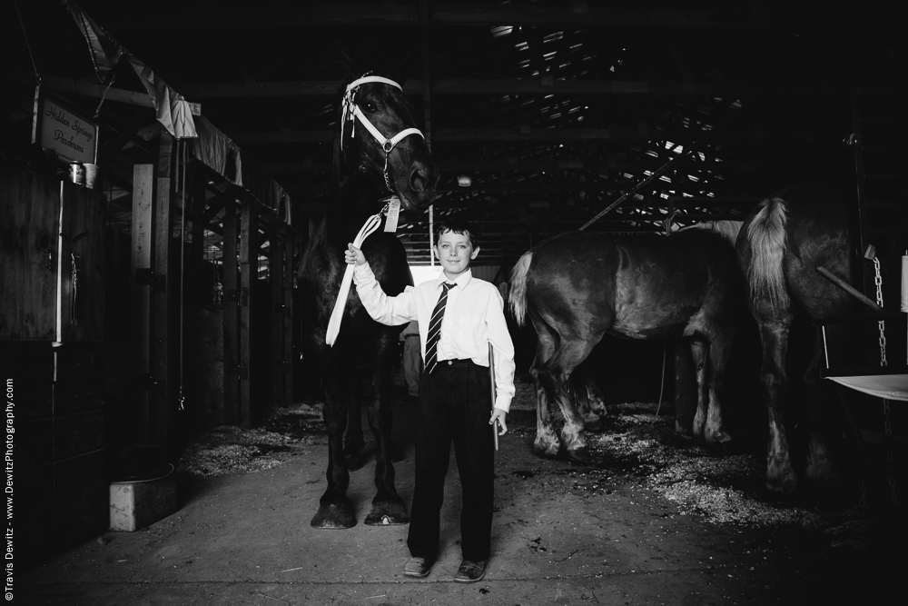 Northern Wisconsin State Fair Young Boy With Tie and Draft Horse