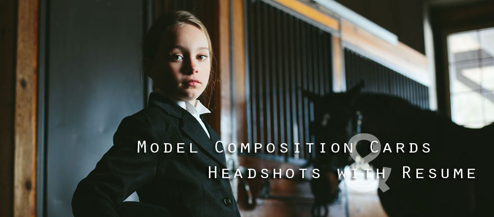 Model Comp Cards and Headshots With Resume Header Photo
