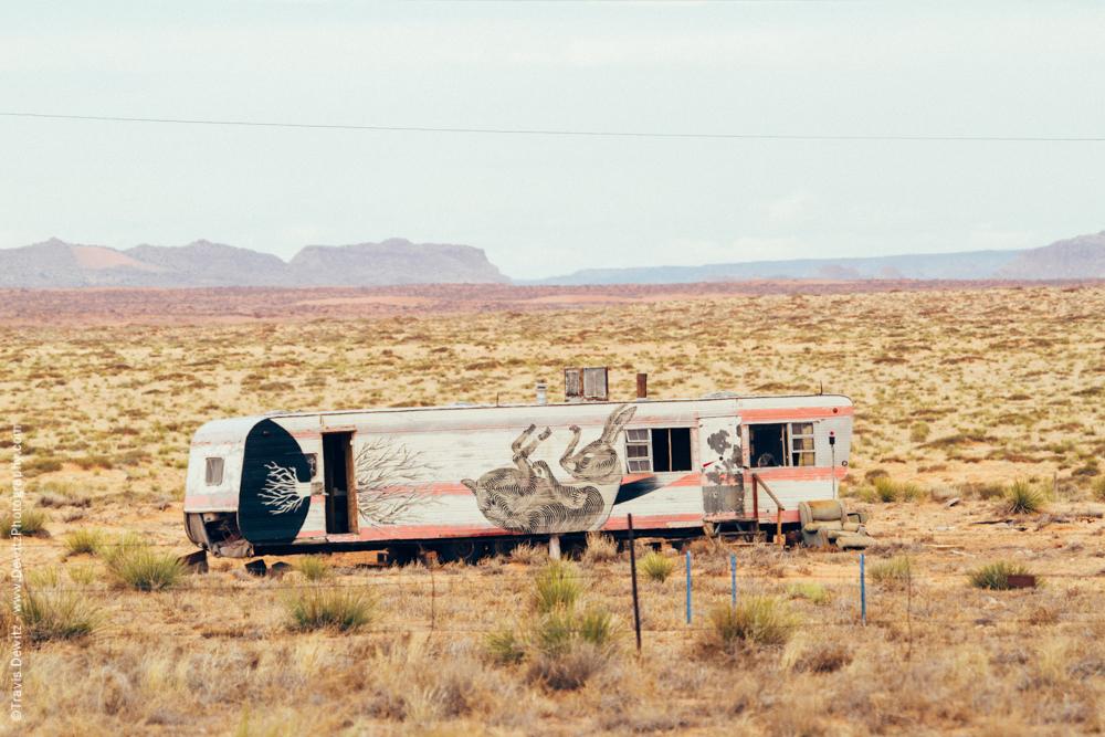 Dead Rabbit Painted on Trailer Home is Desert