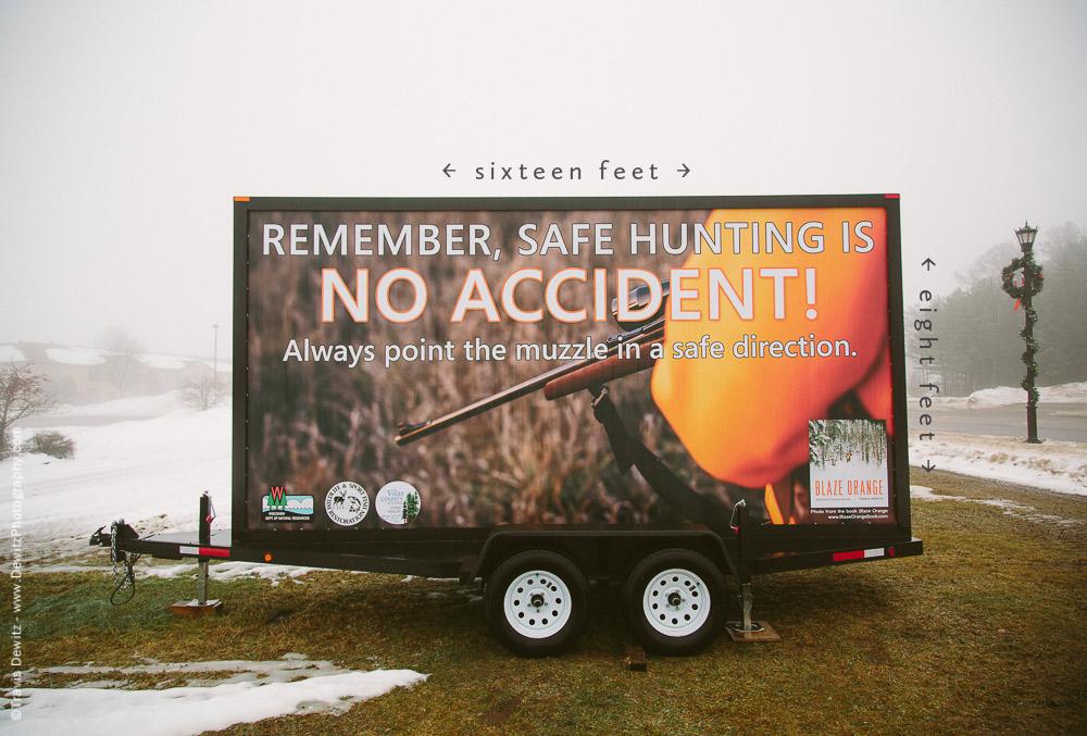 Blaze Orange Billboard With Dimensions