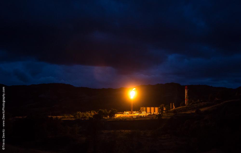 Bright Flare Site at Night