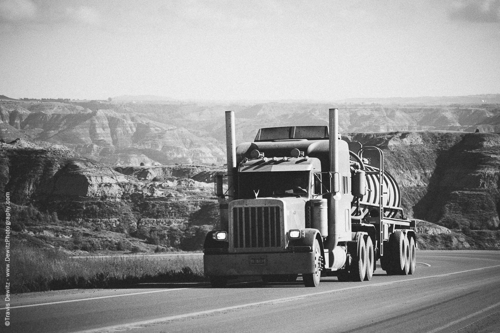 Crude Oil Truck Climbing Out of the Badlands