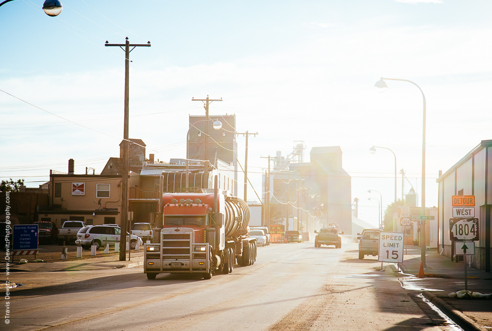 Oil Tankers Driving Through Williston, ND