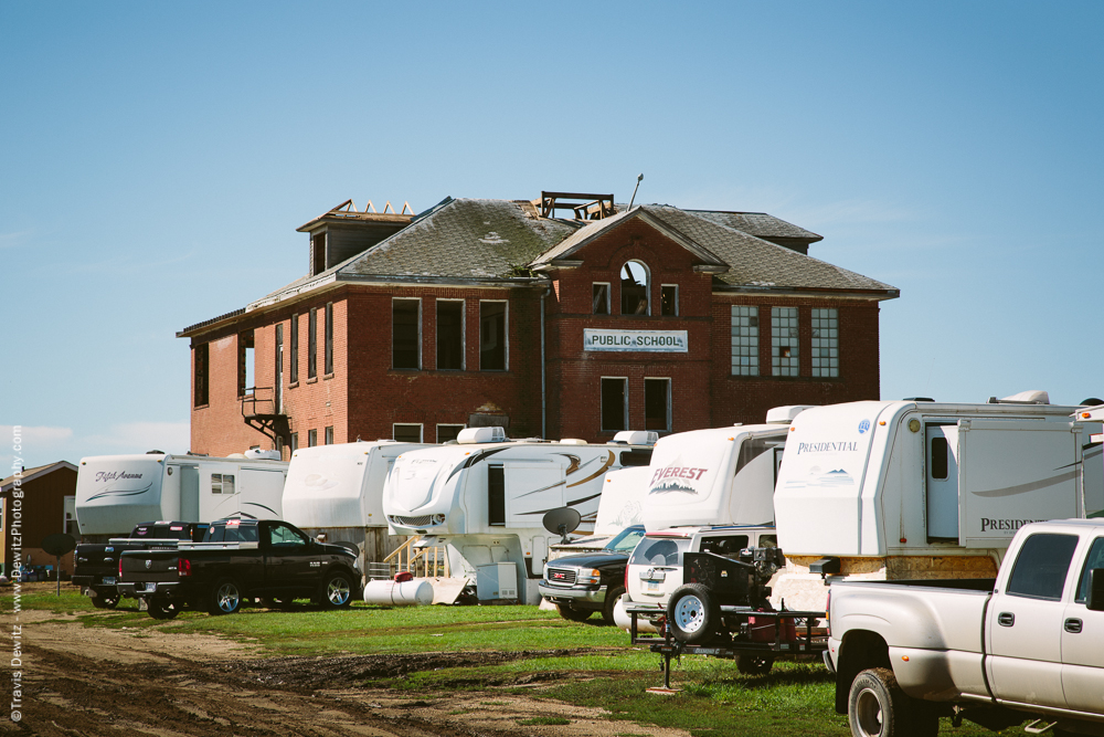 Oil Workers Camped Outside Abandoned School - Ross, ND