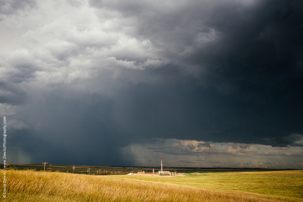 Thunderstorm Over Bakken Oil Rig