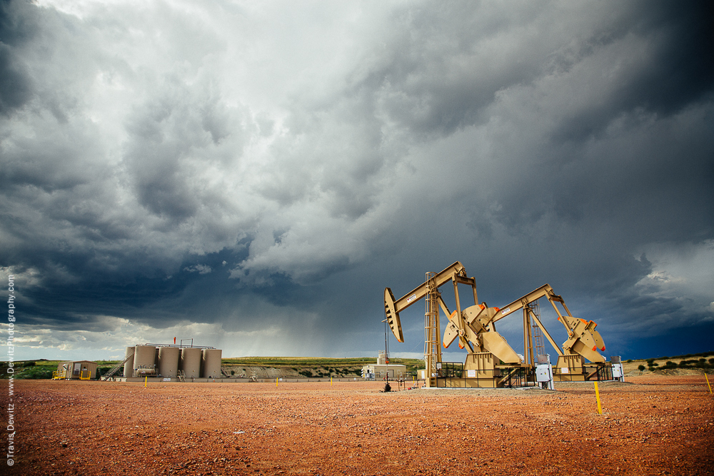 Thunderstorm Over Oil Well Site