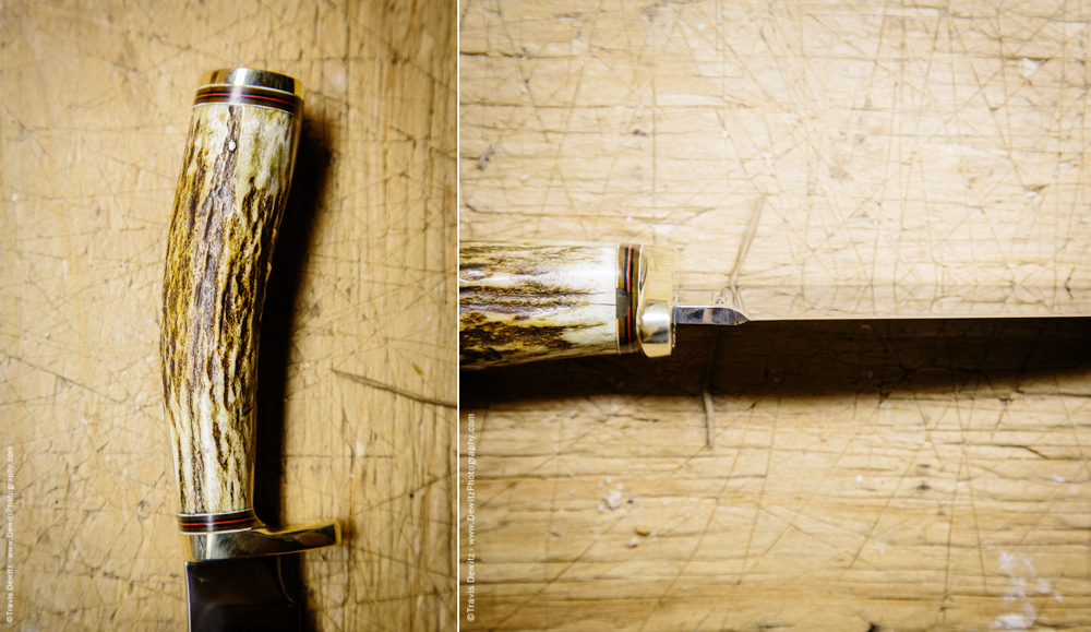 Detail Shot of Custom Knife Antler Handle and Knife Blade Edge