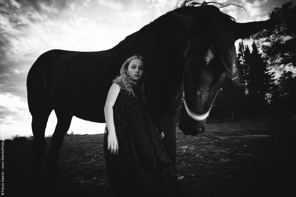 Teslyn - Girl Leaning Against Horse