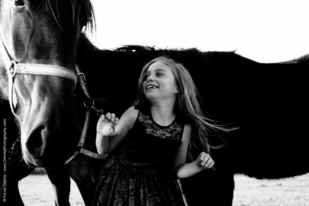 Teslyn - Very Happy Young Girl Laughs With Horse