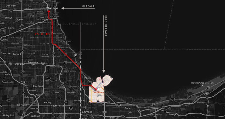 Map of East Chicago Indiana BW Inverse