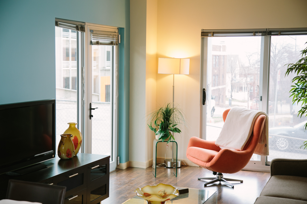 Alexander Company Modern Orange Chair Apartment Scene