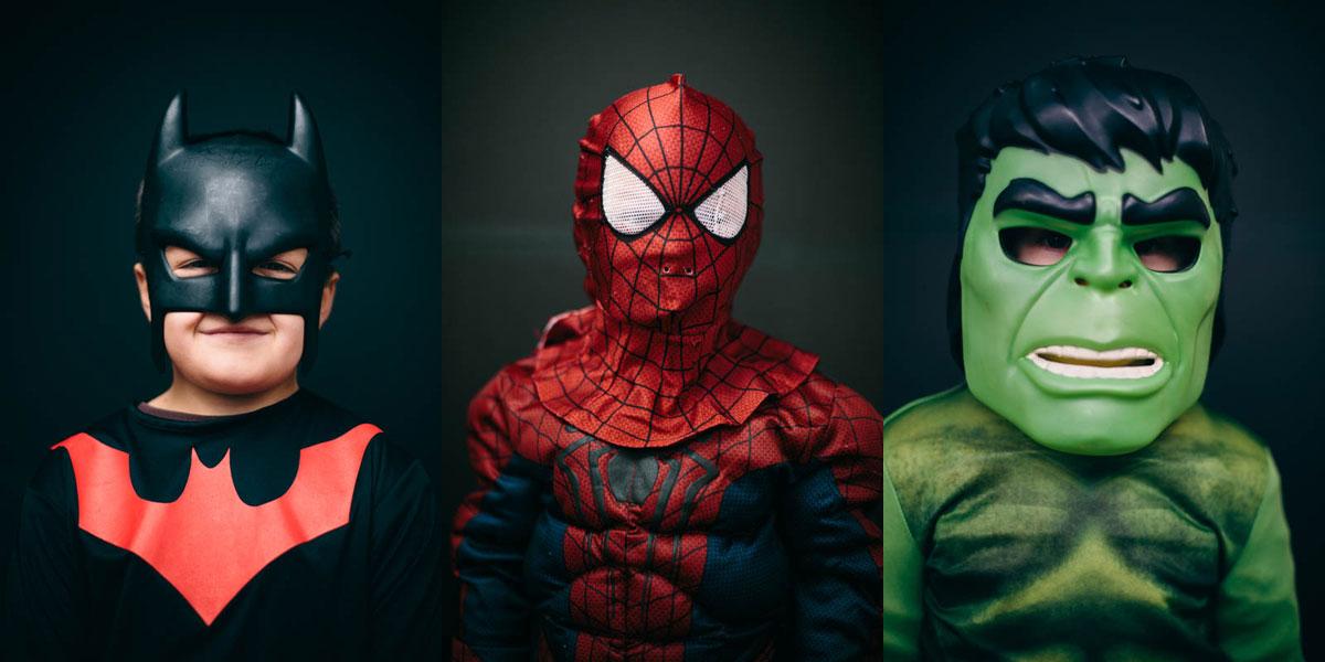 Halloween-Costume-Portrait-batman-spiderman-hulk