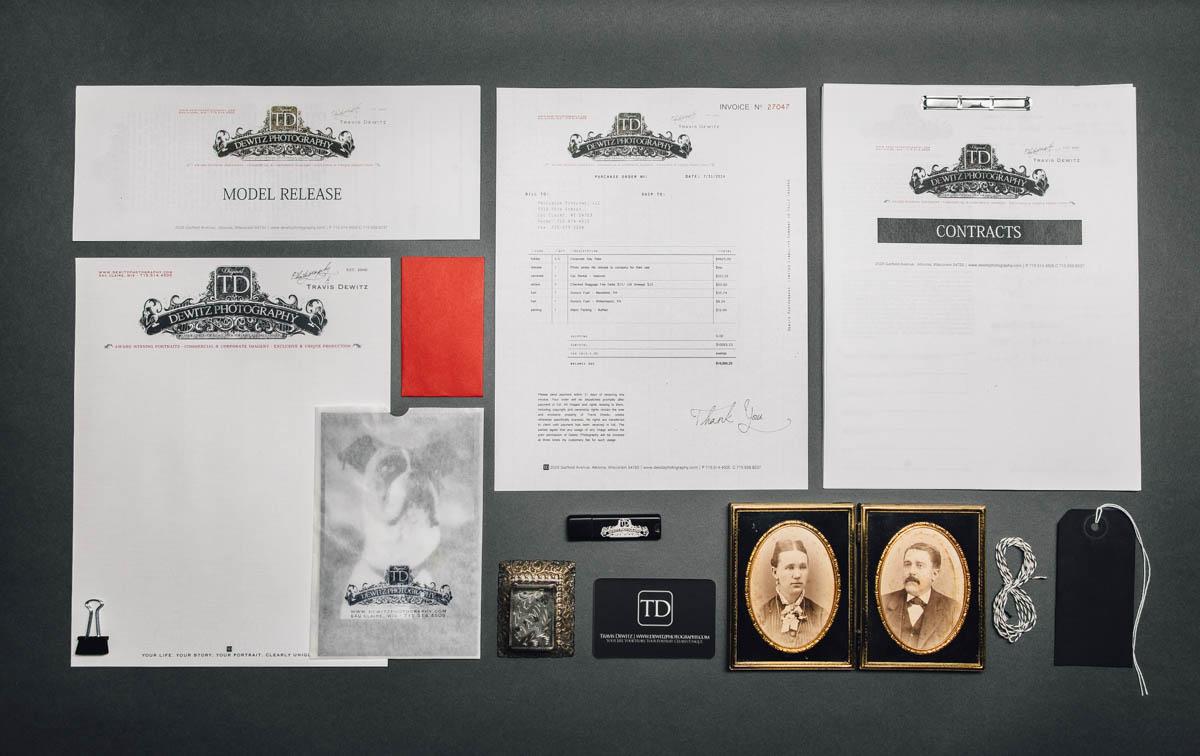 dewitz photography vintage branding set contract invoice letterhead cabinet card-2409