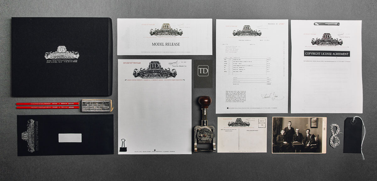 dewitz photography vintage branding set including packaging letterhead business card