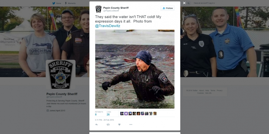 Pepin County Sheriff Twitter Polar Plunge Tweet