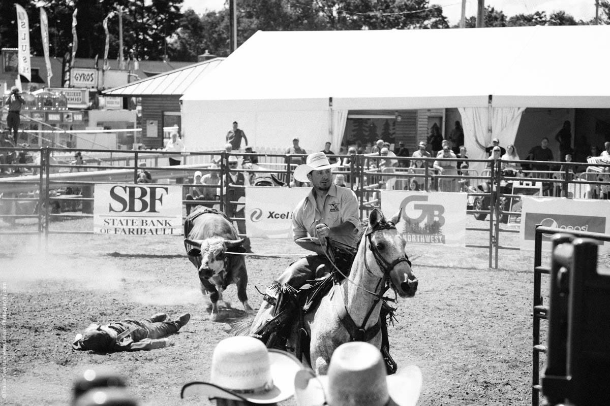 Cowboy on Horse Pulls in Roped Bull-3147