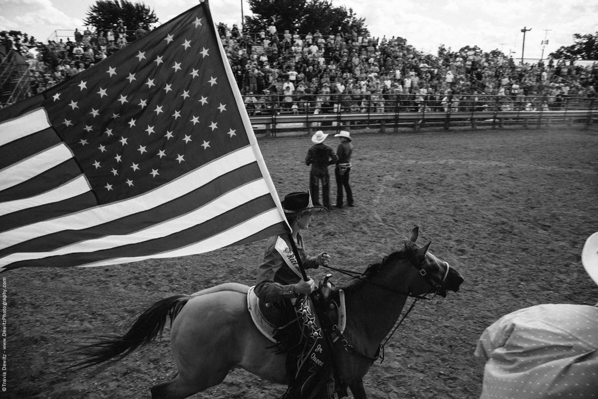73-Miss Rice Bull Riding Circles Winners on Horse with Flag-3364